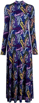 M Missoni Logo-Print Mock-Neck Maxi Dress