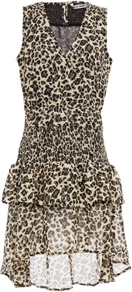 Walter Baker Shirred Metallic Leopard-print Crepe De Chine Dress