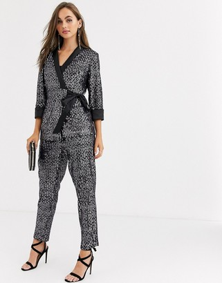 Little Mistress tailored sequin trouser in black co ord