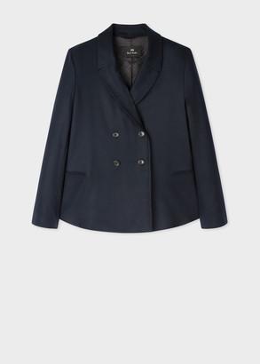 Paul Smith Women's Navy Flannel Wool Double-Breasted Blazer