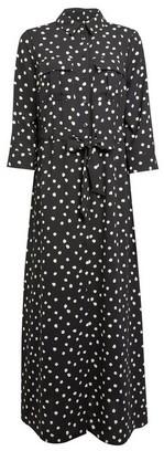 Dorothy Perkins Womens Black Spot Print Maxi Shirt Dress, Black