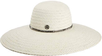 Maison Michel Blanche Herringbone Large Brim Hat