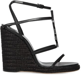 Saint Laurent 105mm Cassandra Leather Espadrille Wedge