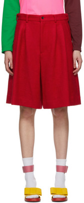 Comme des Garcons Red Wool Pleated Shorts