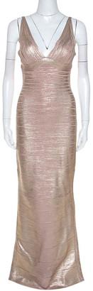 Herve Leger Metallic Rose Gold Foil Knit Bandage Maxi Dress M
