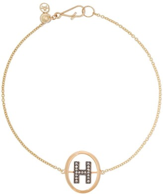 Annoushka 18kt yellow gold diamond initial H bracelet