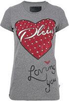 Philipp Plein embellished heart T-shirt - women - Cotton/Polyester - XS