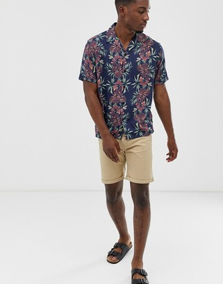 Jack and Jones slim fit shirt in floral print with revere collar-Purple