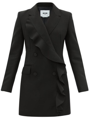 MSGM Double-breasted Ruffled Tuxedo Dress - Black