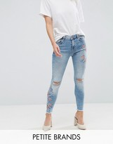 New Look Petite Embroidered Skinny Jeans