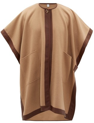 Burberry Pycombe Leather-trimmed Cashmere Cape - Womens - Camel