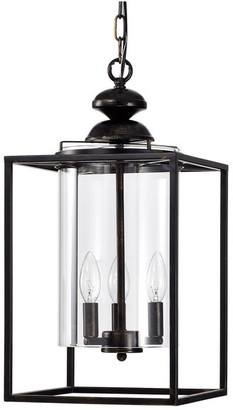 Edvivi Lighting 3-Light Antique Bronze Metal Lantern Chandelier w/ Hurricane Glass Sha