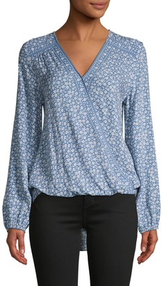Max Studio Floral-Print Shirttail Top