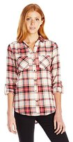 My Michelle Juniors Plaid Button Front Shirt with Roll Tab Sleeves and Front Pockets