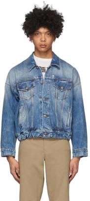 R 13 Blue Denim Oversized Cinch Waist Trucker Jacket