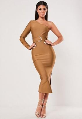 Missguided Premium Rust Bandage One Sleeve Belted Midi Dress
