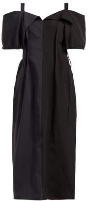 Jil Sander Gabi Colour-block Off-the-shoulder Dress - Womens - Black Navy
