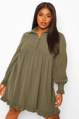 boohoo Plus Ruffle Hem Smock Shirt Dress