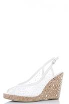Quiz White Lace Diamante Peep Toe Wedges