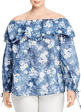 MICHAEL Michael Kors Bleached Floral Off-the-Shoulder Top