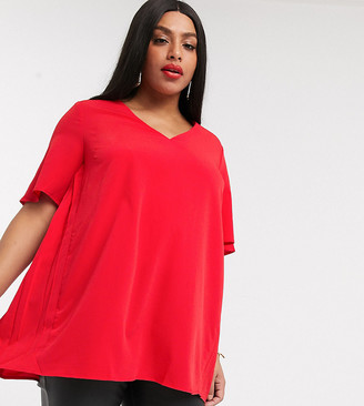 Simply Be v neck blouse with pleats in red