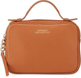 Versace Saffiano Top-Zip Shoulder Bag, Saddle