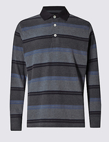 Blue Harbour Pure Cotton Slim Fit Soft Striped Rugby Top