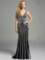 Lara Dresses - Sleeveless V Neck Crystal Beaded Long Black Dress 32958