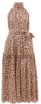 Zimmermann Super Eight High-neck Leopard-print Midi Dress - Womens - Leopard