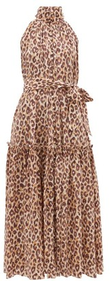 Zimmermann Super Eight High-neck Leopard-print Midi Dress - Leopard