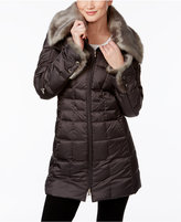 Laundry by Shelli Segal Faux-Fur-Collar Hooded Down Coat