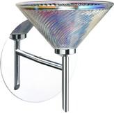"575 Denim Omalley 1-Light Armed Sconce Brayden Studio Finish: Chrome, Glass Shade: Dicro Swirl, Size: 8.5"" H x W x 6.5"" D"