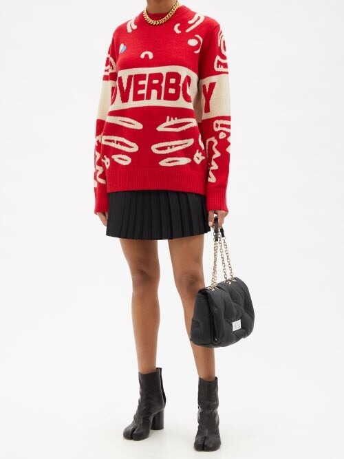 Thumbnail for your product : Charles Jeffrey Loverboy Logo-jacquard Wool-blend Sweater - Red Multi