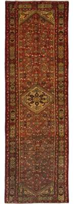 """Ecarpetgallery One-of-a-Kind Hamadan Hand-Knotted Runner 3'5"""" x 10'11"""" Wool Red Area Rug"""