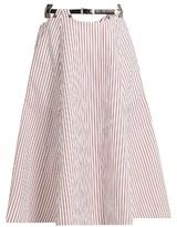 Toga Striped cotton midi skirt