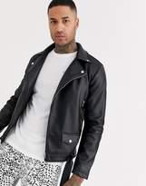 Jack & Jones Originals faux leather heavy biker jacket in black