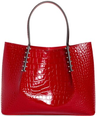Christian Louboutin Small Cabarock Croc Embossed Calfskin Leather Tote
