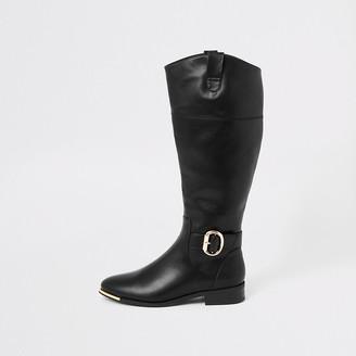 River Island Black buckle knee high boots
