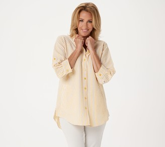 Joan Rivers Classics Collection Joan Rivers 3/4 Sleeve Seersucker Shirt w/ Back Button Detail