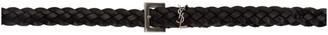 Saint Laurent Black Braided Thin Logo Belt