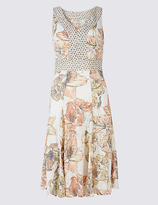 Classic Burnout Floral Print Shift Midi Dress
