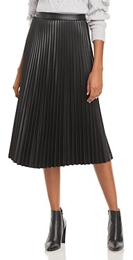 Lucy Paris Faux Leather Pleated Skirt