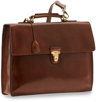 The Bridge Story Uomo Genuine Leather Flap Top Briefcase