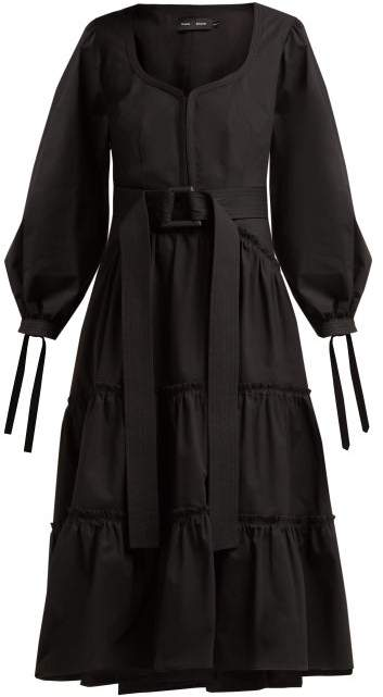 Proenza Schouler Belted Tiered Cotton Midi Dress - Womens - Black
