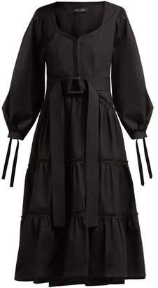 Proenza Schouler Belted Tiered Cotton Midi Dress - Womens - Black