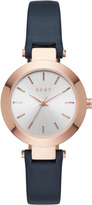 DKNY Stanhope Rose Gold-Tone Stainless Steel and Navy Leather Watch