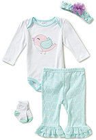 Starting Out Baby Girls Newborn-9 Months Bird/Geo Printed 4-Piece Layette Set