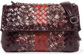 Bottega Veneta Olimpia Baby Intrecciato Watersnake Shoulder Bag - Burgundy
