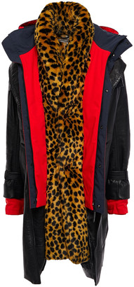 Balenciaga Layered Leopard-print Faux Fur, Leather And Woven Hooded Coat