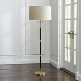 Crate & Barrel Owen Matte Brass Floor Lamp with Brown Leather